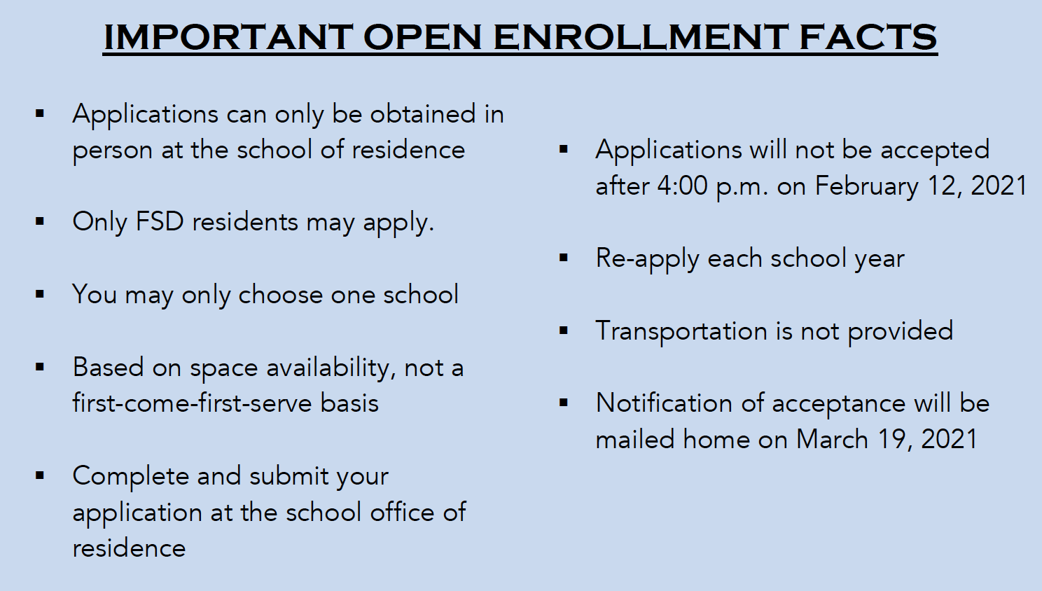 Important Facts - Open Enrollment