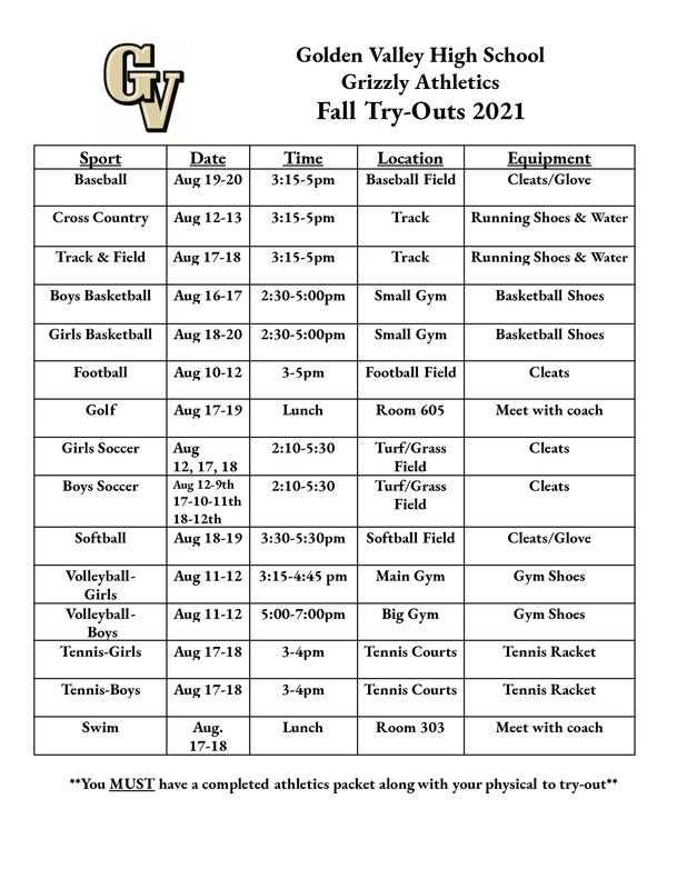 GV 2021 Fall Athletic Tryout Schedule Featured Photo