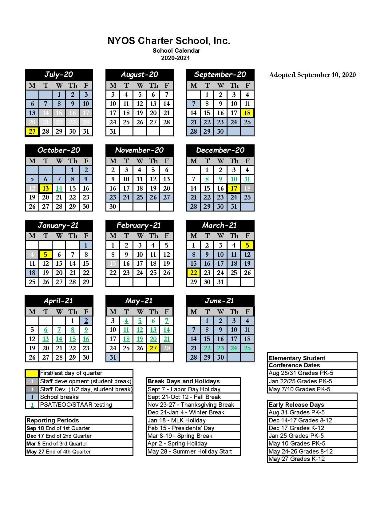 School Calendars   Miscellaneous   NYOS Charter School