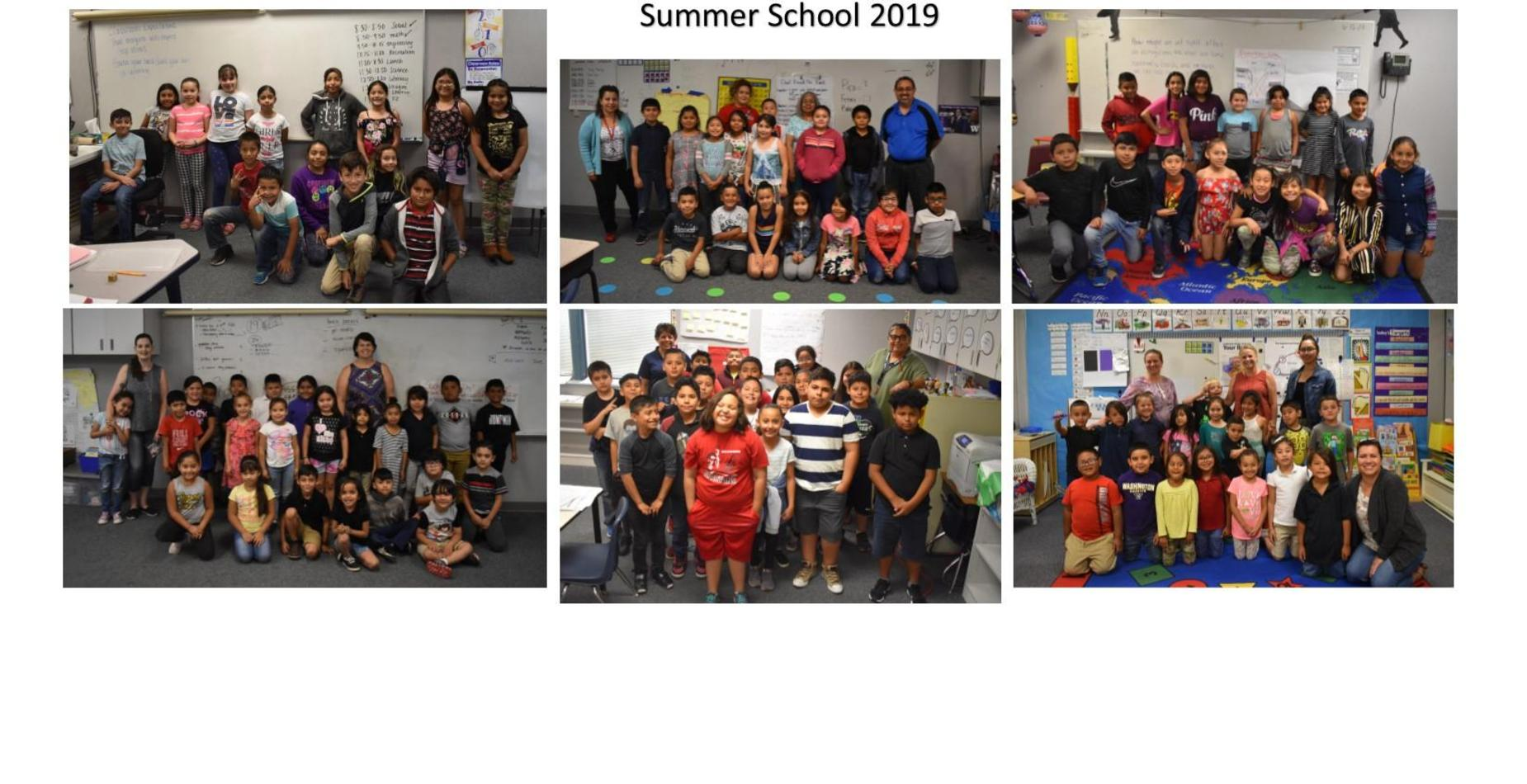 Our six summer school classes with the students and their teachers.