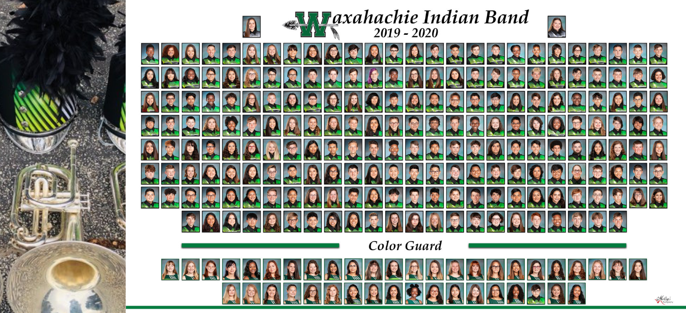 Spirit of Waxahachie Indian Band composite picture of each member in uniform