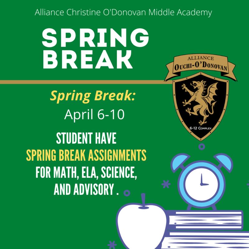 Spring Break Assignments: April 6th-10th // Vacaciones de primavera: 6 al 10 de abril Thumbnail Image