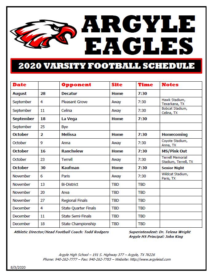 Varsity FB Schedule 2020