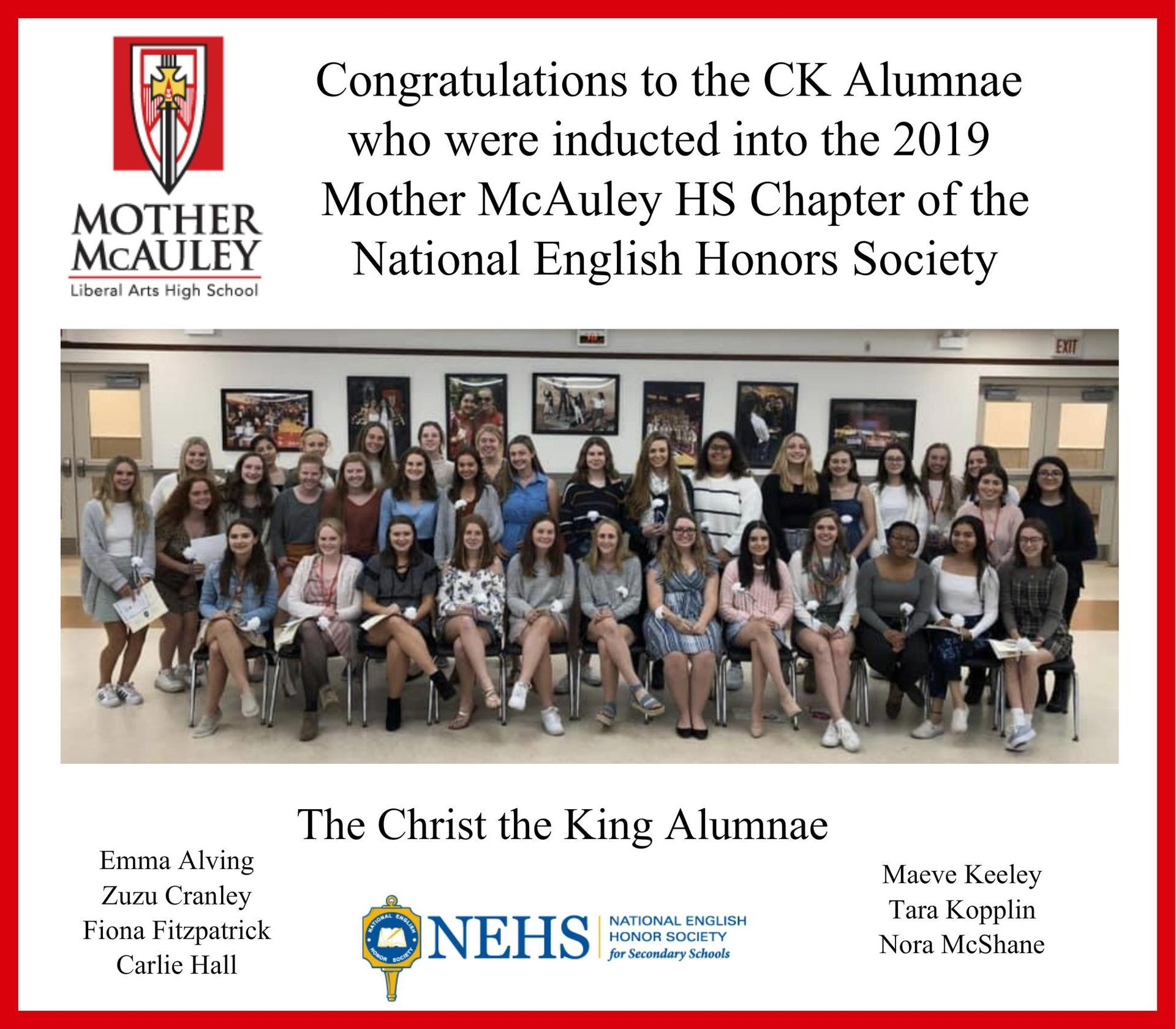 National English Honor Society Inductees Fall 2019 from Mother McAuley High School
