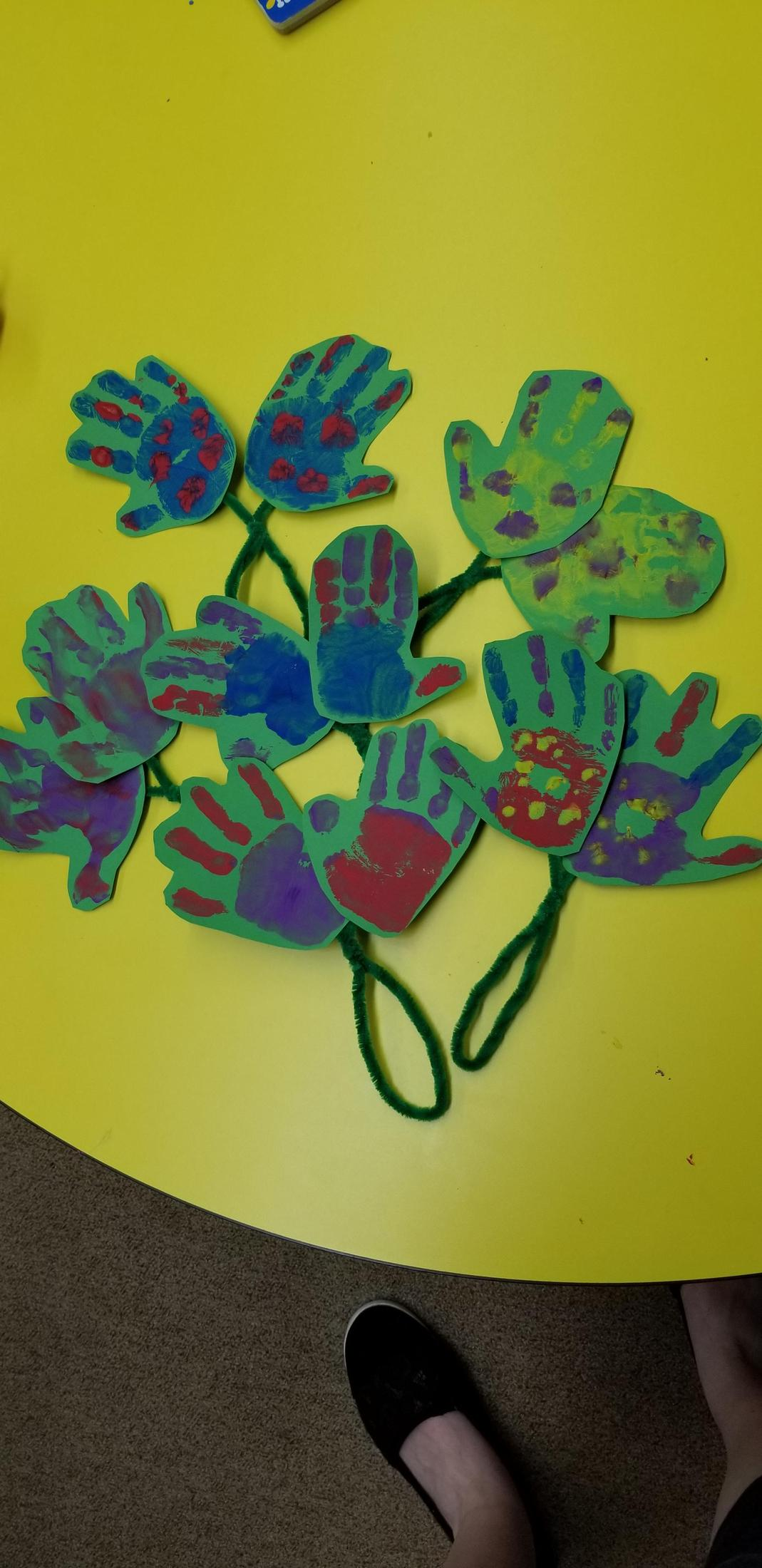 Mother's Day painted hand print flowers