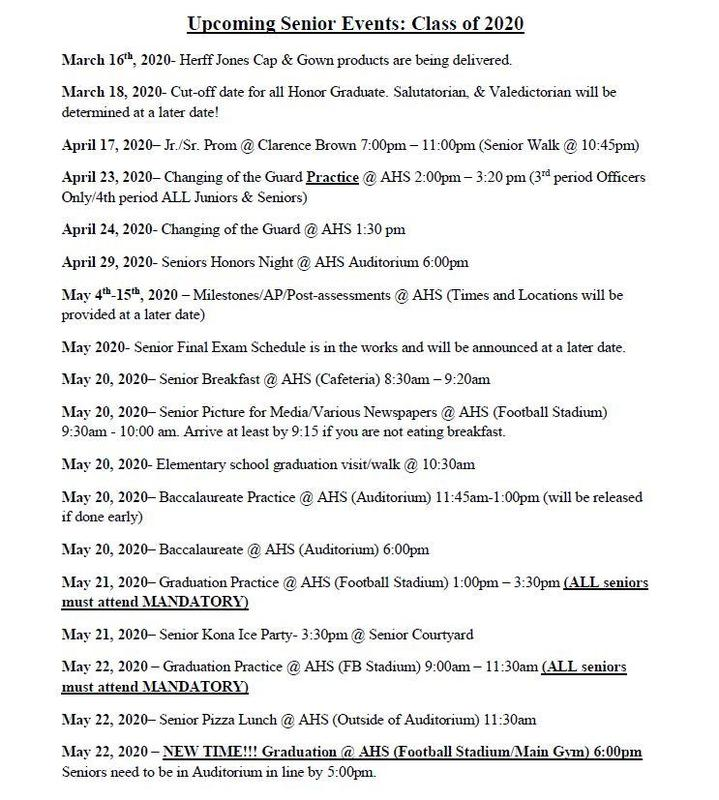 Save the Dates for: Upcoming Senior Events Featured Photo