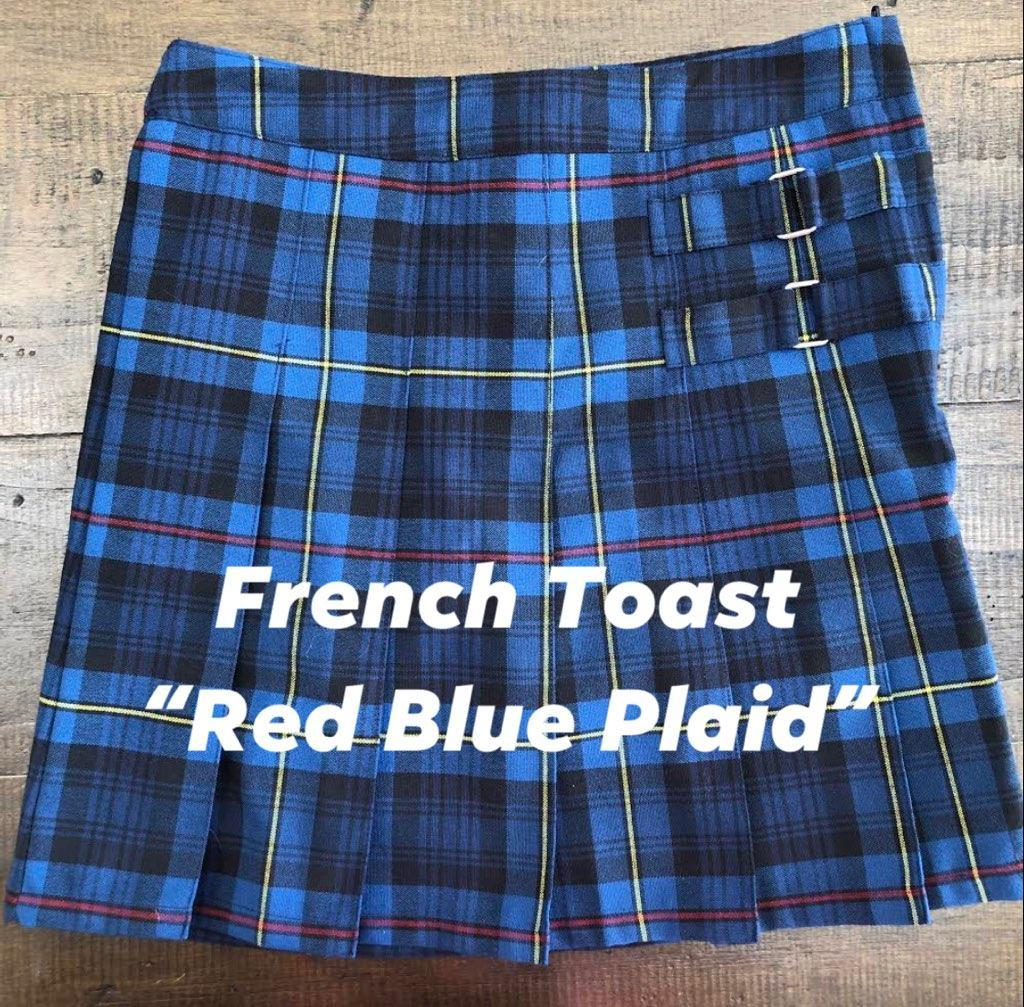 Example of a red and blue plaid uniform skirt