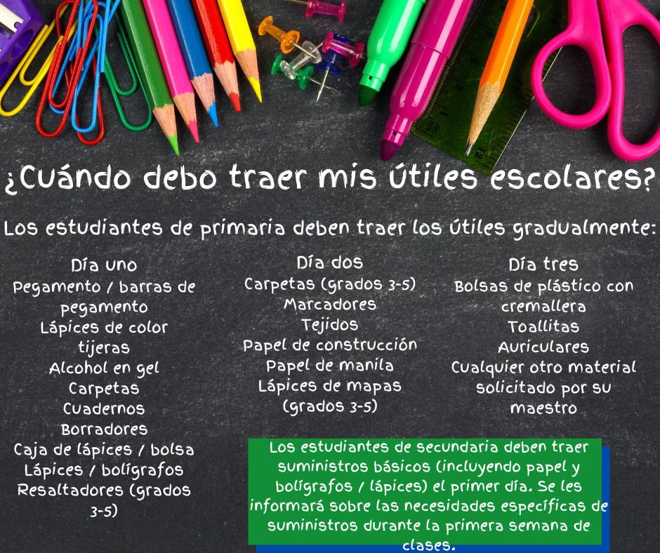 school supply details in spanish