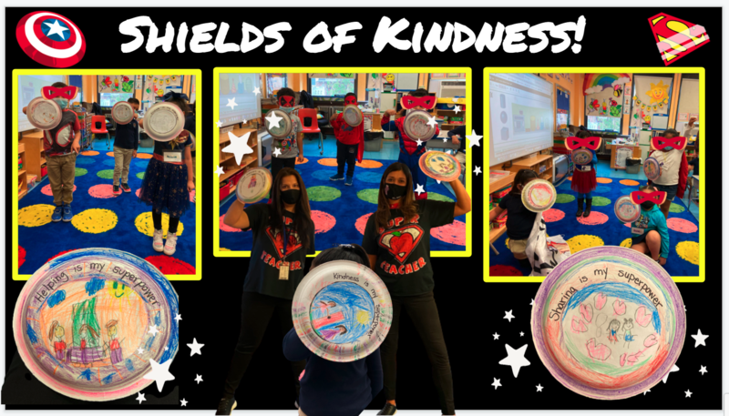 Students and teachers posing with paper plate superhero shields