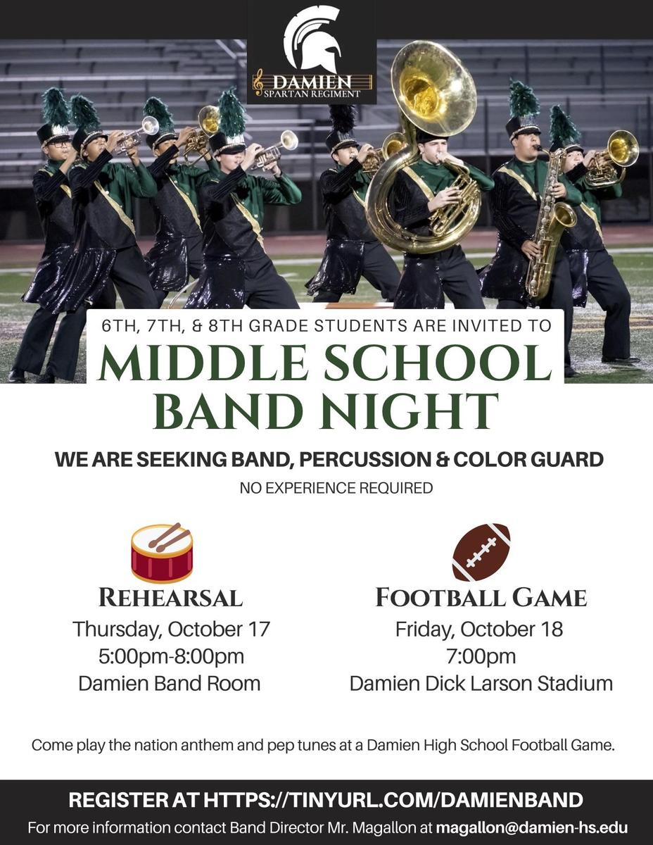 Middle School Band Night October 18, 2019