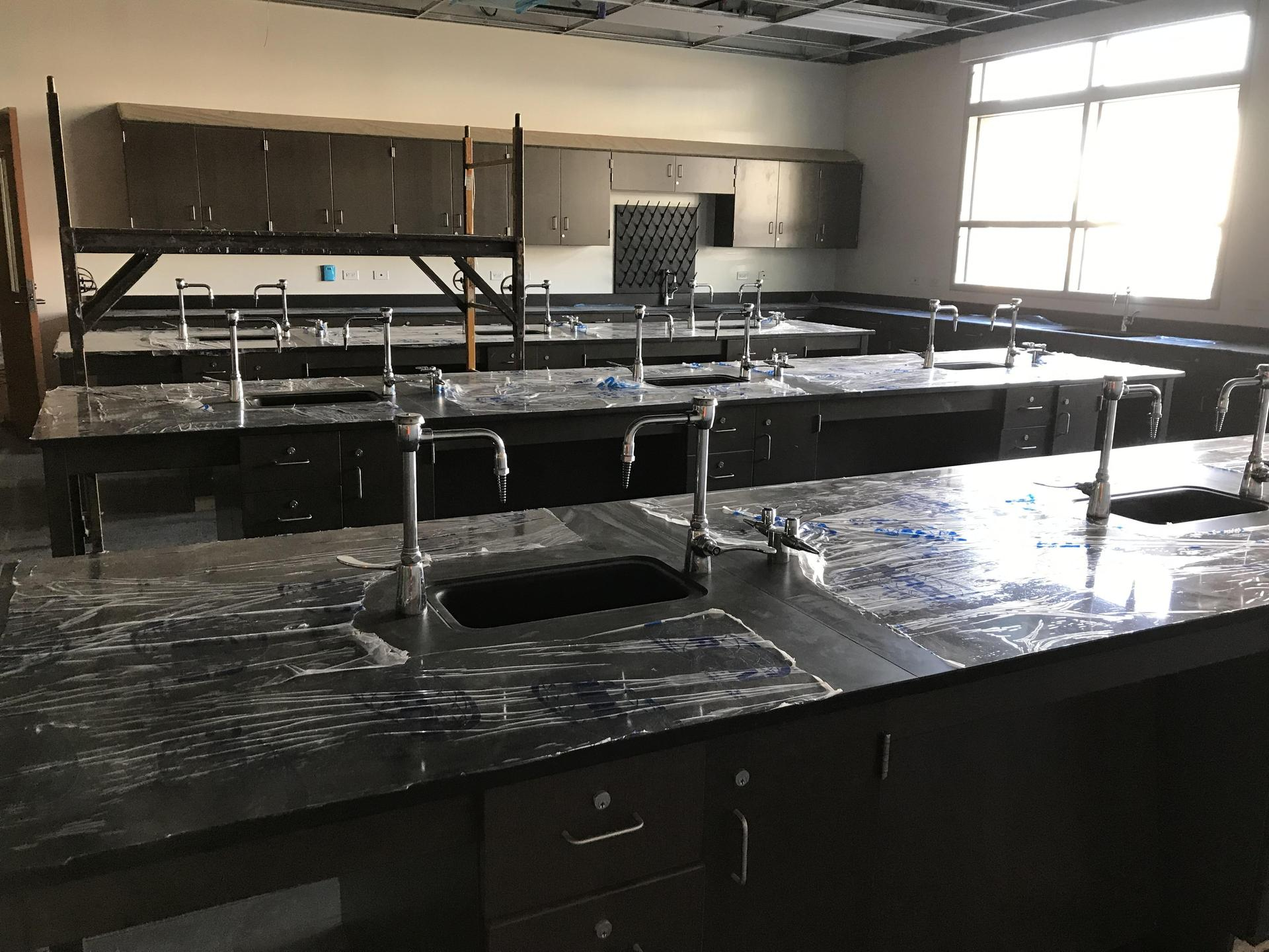 Interior image of progress on the Castaic High School science lab
