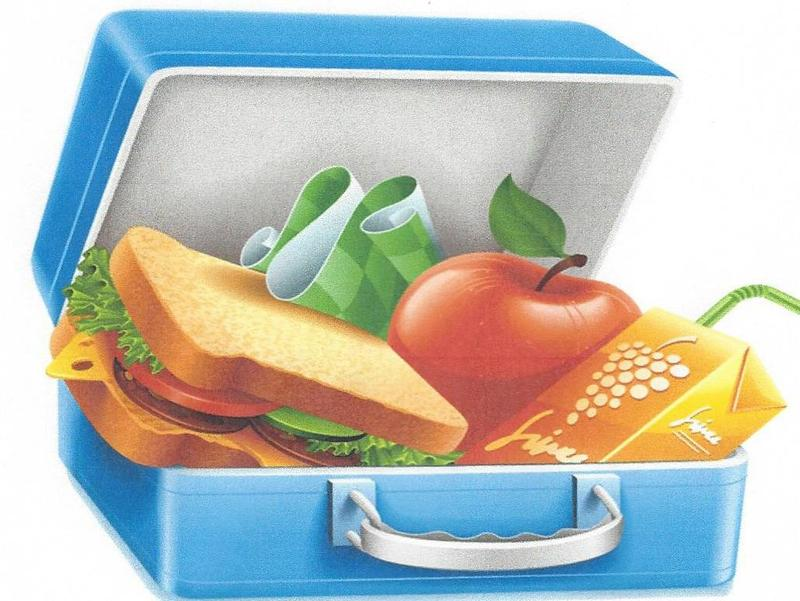 drawing of a lunchbox with sandwich etc.