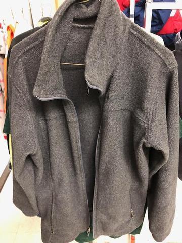 gray jacket, no hood