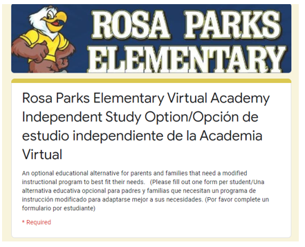 RPES Virtual Academy Independent Study Option Featured Photo