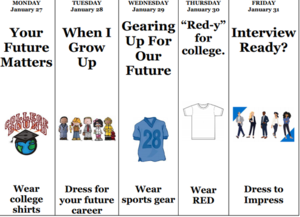College and career week dress up days.