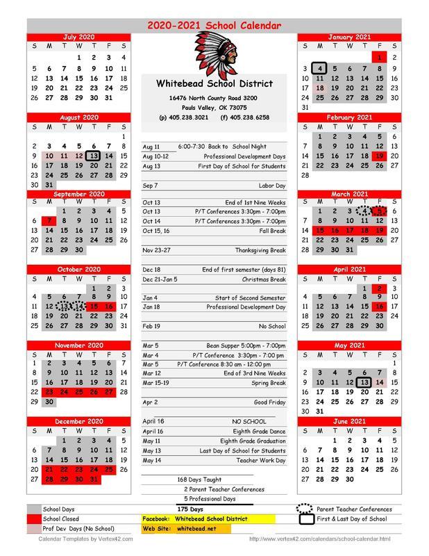 2020 - 2021 School Calendar Featured Photo