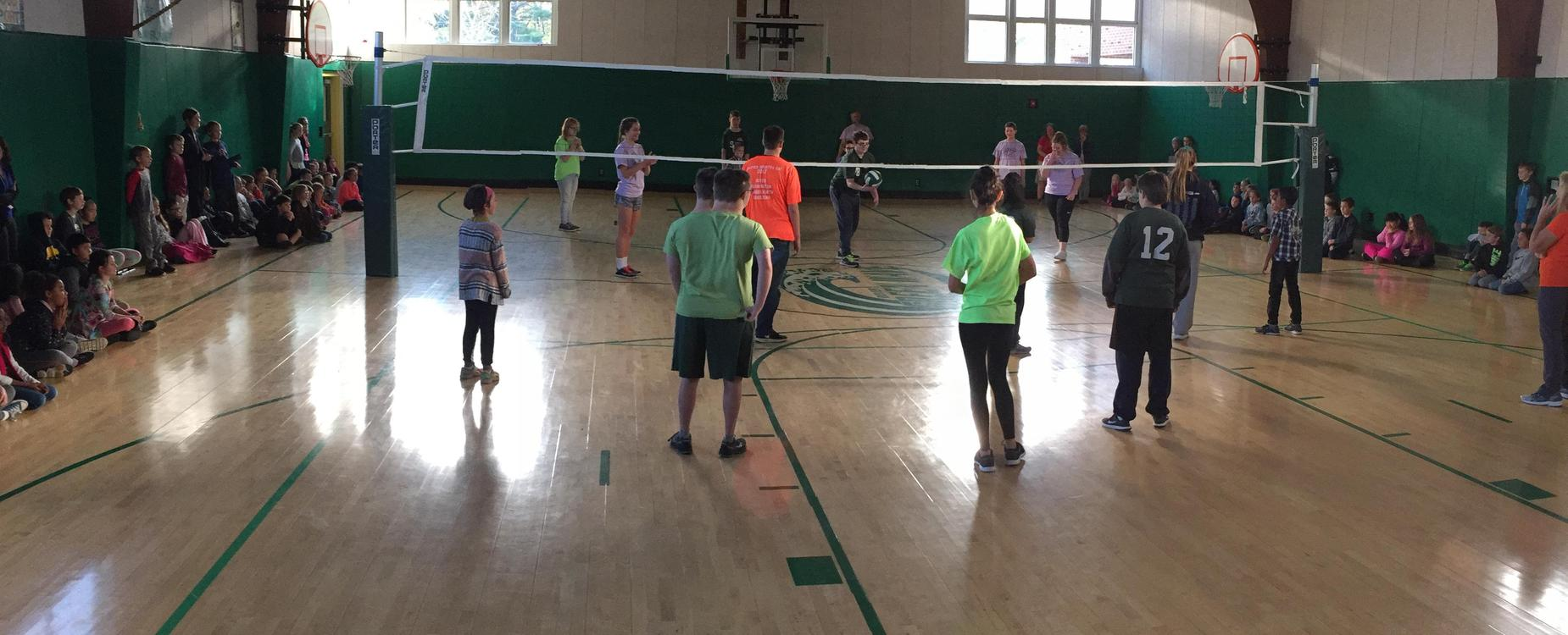 Unified Dover High School Students Playing Volley Ball