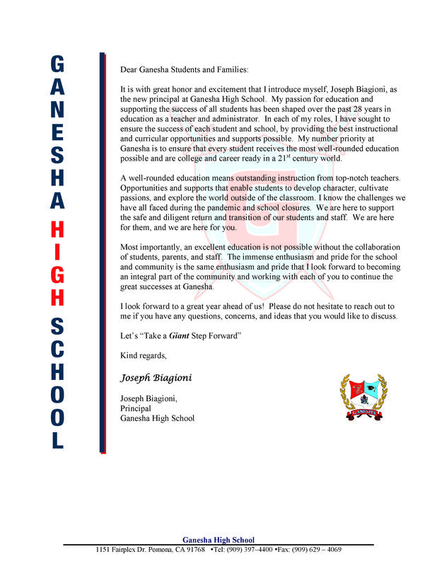 GHS  Introduction Letter to Families  Aug 2021