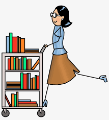 Librarian pushing a cart of books