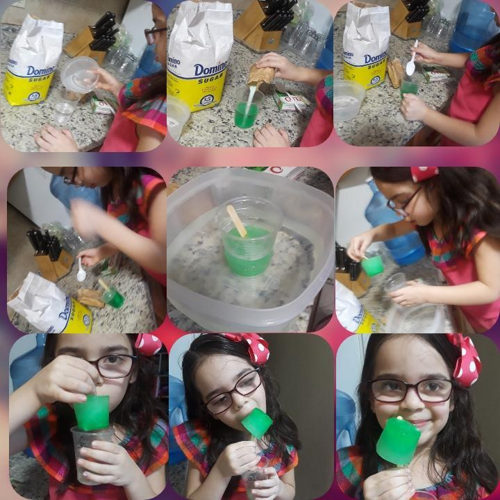 collage of girl making green rock candy at home