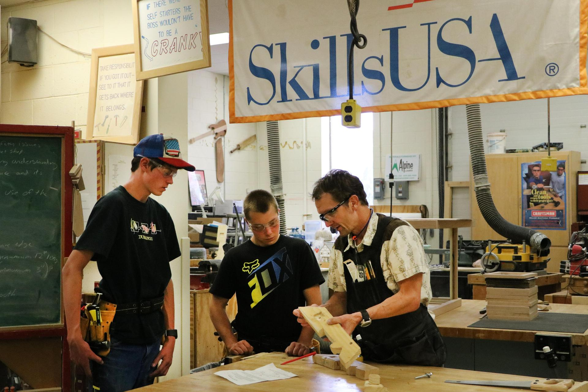 students in wood shop