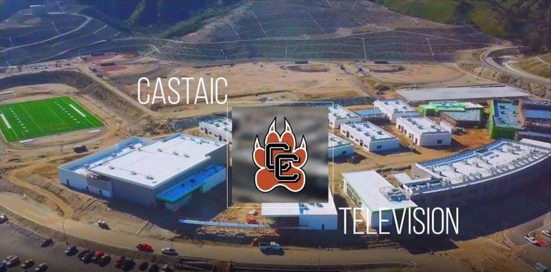 castaic tv with overhead picture of castaic high school