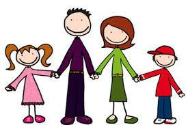 Clip art of two smiling parents and son and daughter.