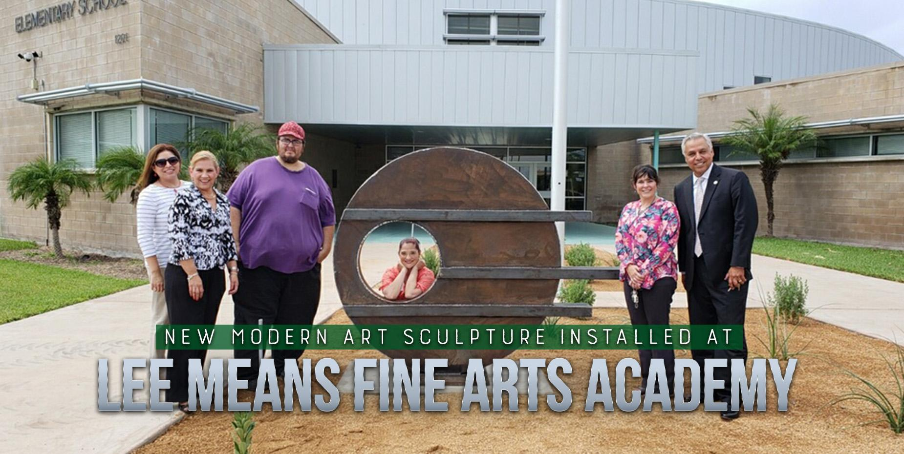 Modern art sculpture installed at Lee Means Arts Academy