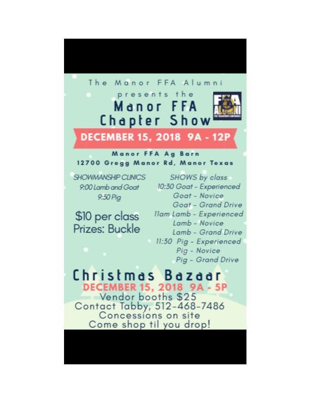 Manor FFA Chapter Show & Christmas Bazaar Thumbnail Image