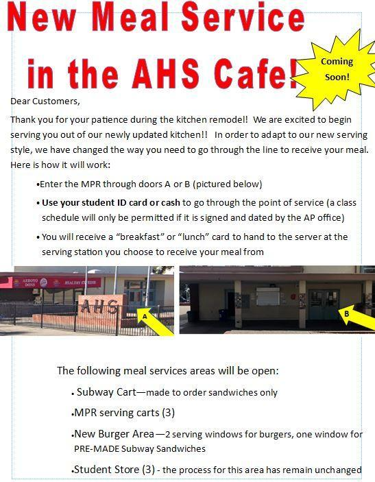 GREAT NEWS!!!!! CAFETERIA to Begin New Services on 11-13 Featured Photo