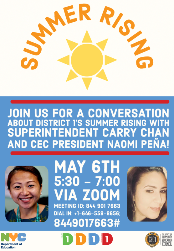 Flyer for Summer Rising discussion