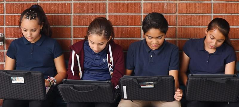 Olive Middle School has reached a 1:1 device-to-student ratio, with each student receiving a Chromebook laptop for the 2019-20 school year.