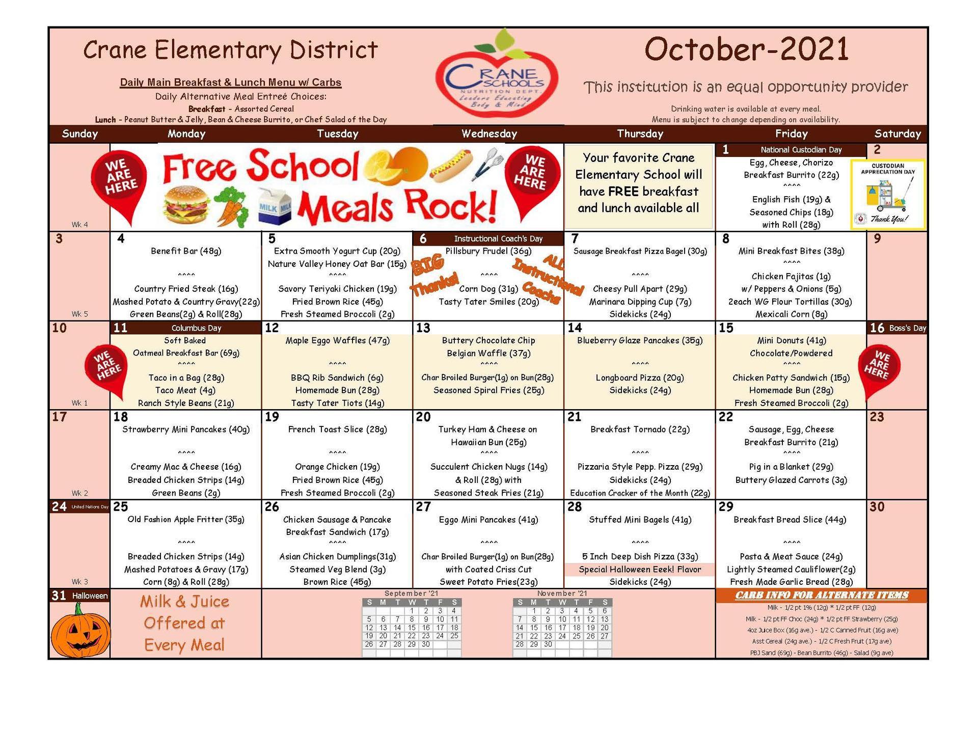 Crane Schools October 2021 Menu