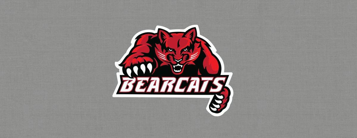 Bearcat logo in the center of a gray background banner pic