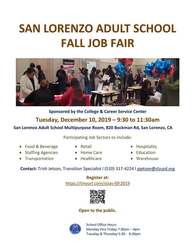 Fall Job Fair 2019 at San Lorenzo Adult School Featured Photo