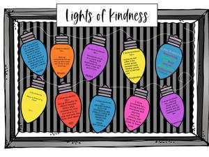 Lights of Kindness with quotes and black background