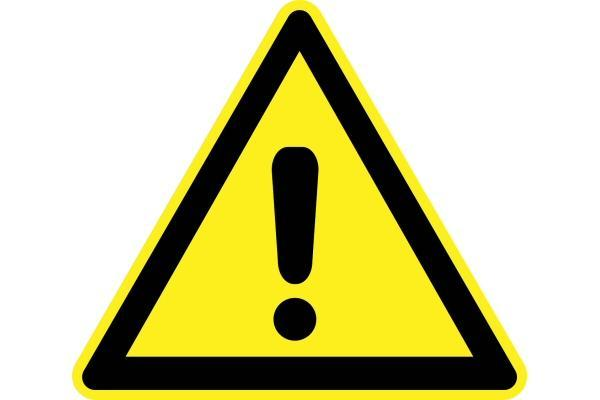 Warning sign (yellow triangle with an exclamation point.