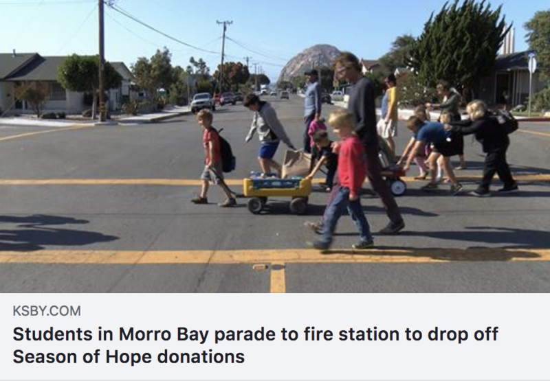 Students in Morro Bay parade to fire station to drop off Season of Hope donations Thumbnail Image