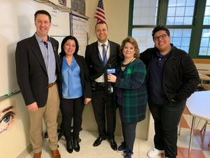 Pasante, Ramzi Saber, his mom, Principal Baez, and Ms. Donelly