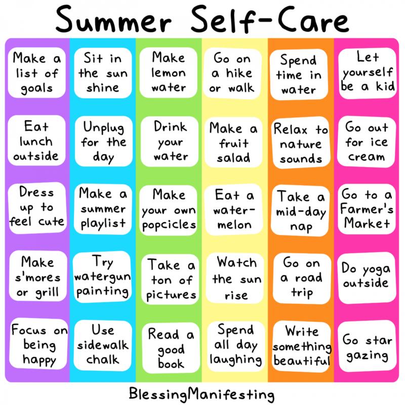 Summer Self Care Chart