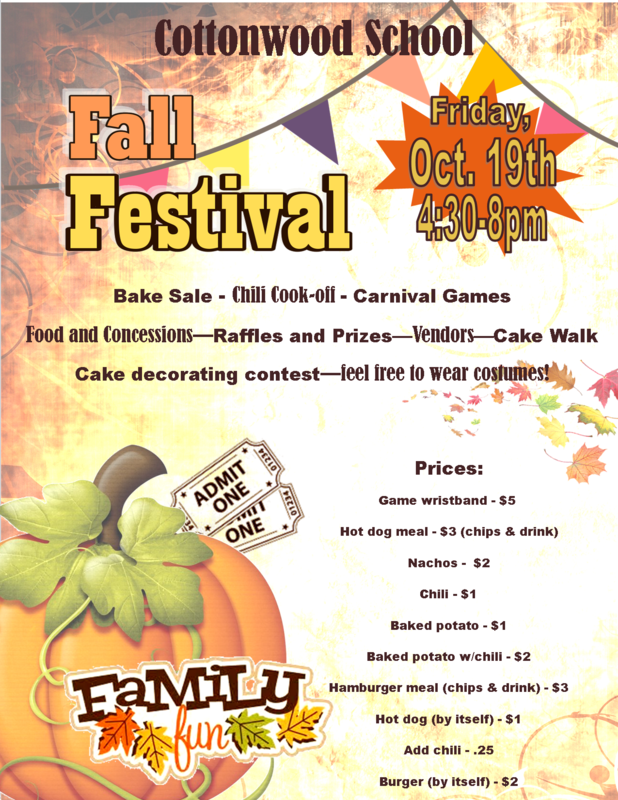 Fall Festival Flyer for October 19th.