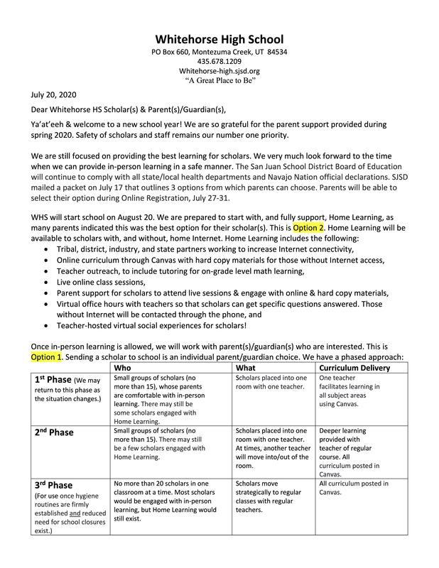 Scholar/Parent Letter, page 1