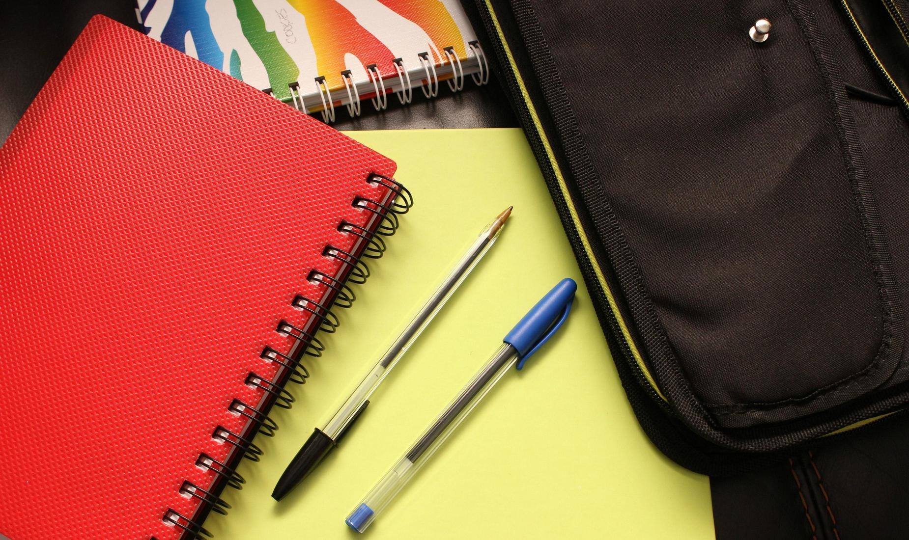 School notebooks and learning supplies