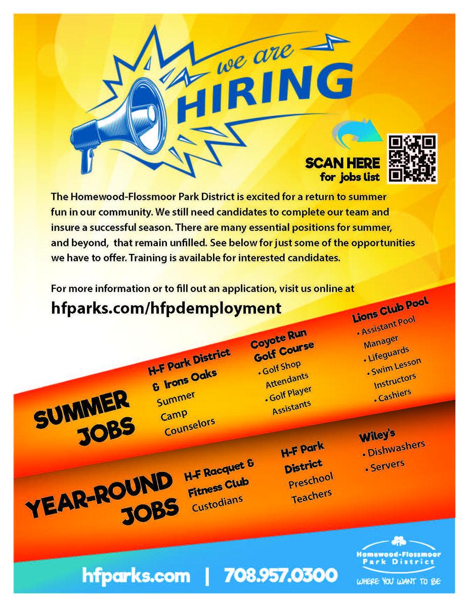 HF Park District summer jobs