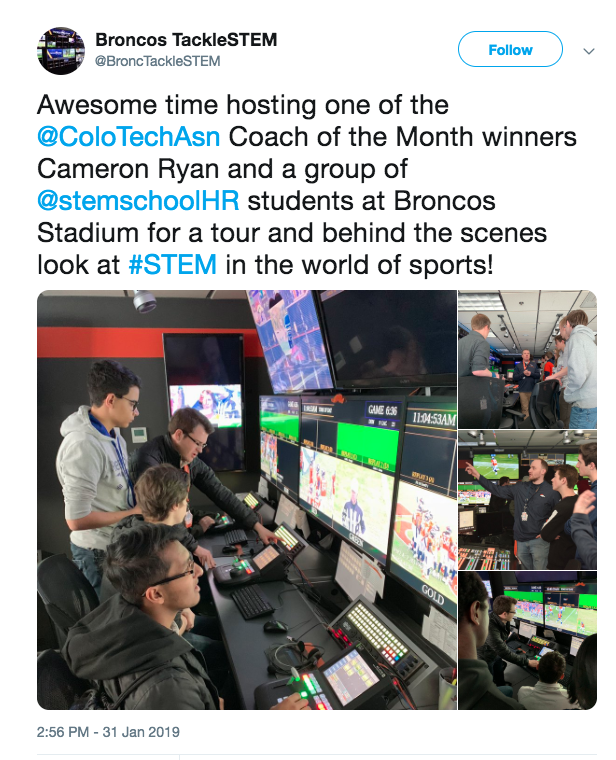 Broncos Tweet about STEM