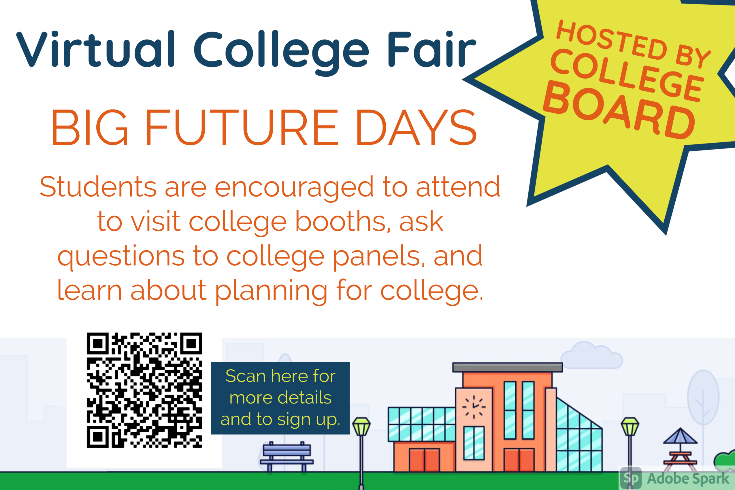 graphic about virtual college fair info