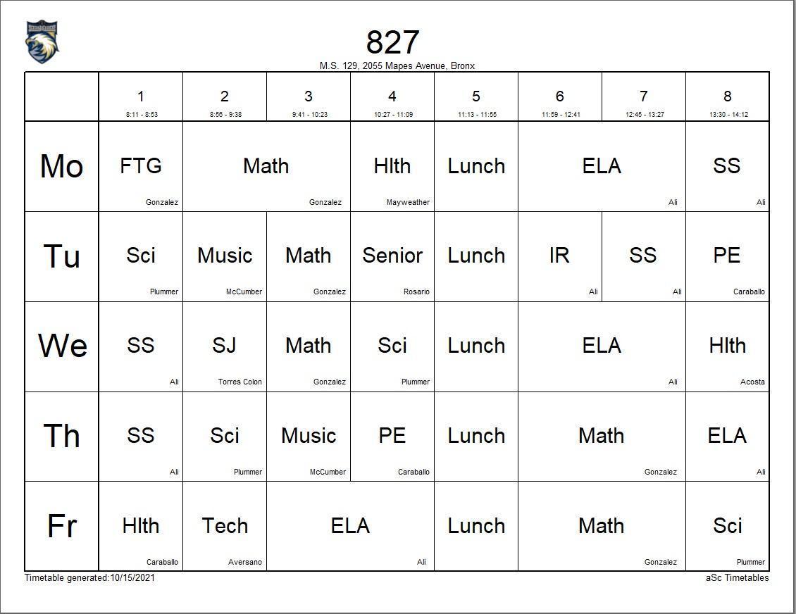 827 class schedule