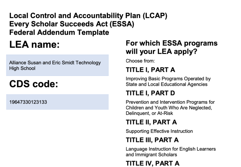 Local Control and Accountability Plan (LCAP) Every Scholar Succeeds Act (ESSA) Federal Addendum Template Thumbnail Image