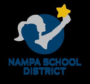 District logo - two children holding aloft a star