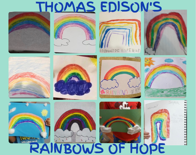 collage of student drawn rainbows